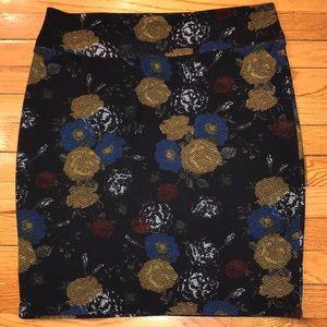 EUC Black and Floral Lularoe Cassie Skirt